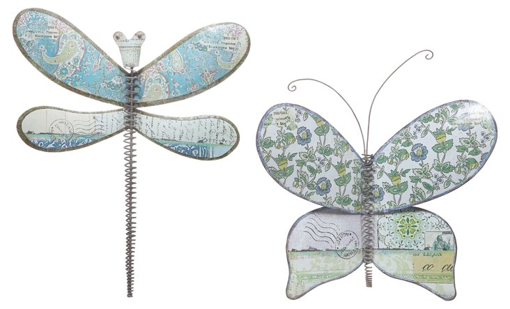 Dragonfly & Butterfly Decor, Set of 2