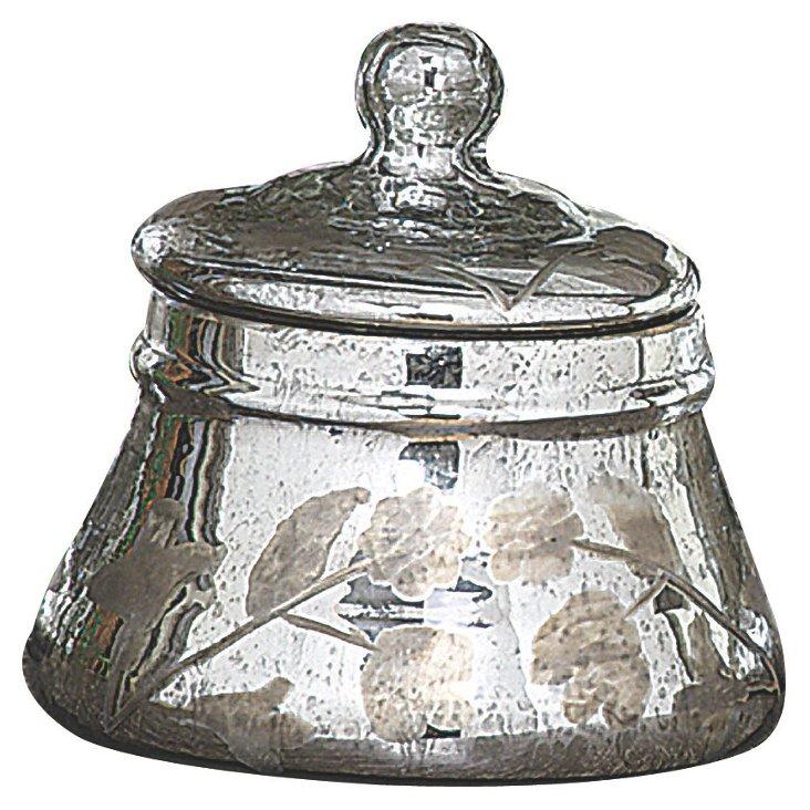 "7"" Silver Mercury-Glass Jar w/ Lid"