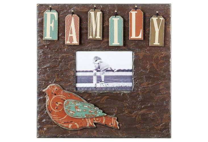 Family Photo Frame w/ Raised Letters