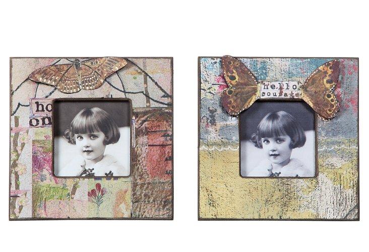 S/2 Wood Frames w/ Butterflies