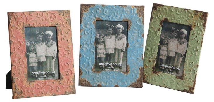Asst. of 3 Embossed Tin Frames, 4x6