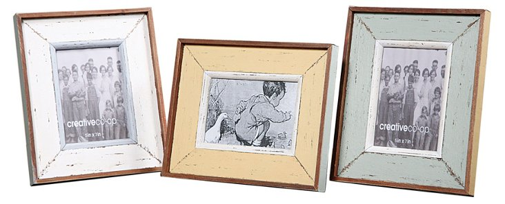 Asst. of 3 Wood Photo Frames, 5x7