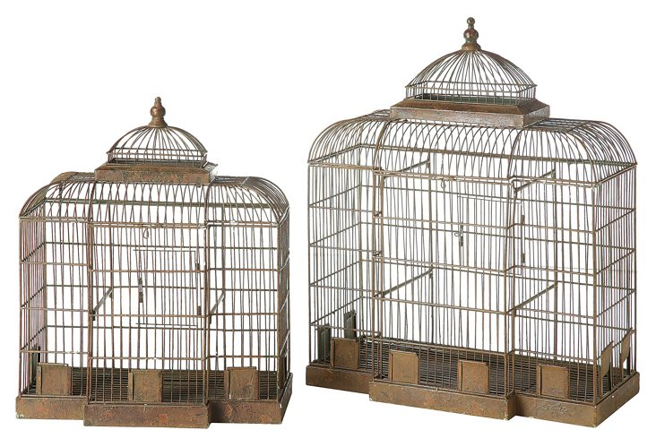 Asst. of 2 Boutique Birdcages, Brown