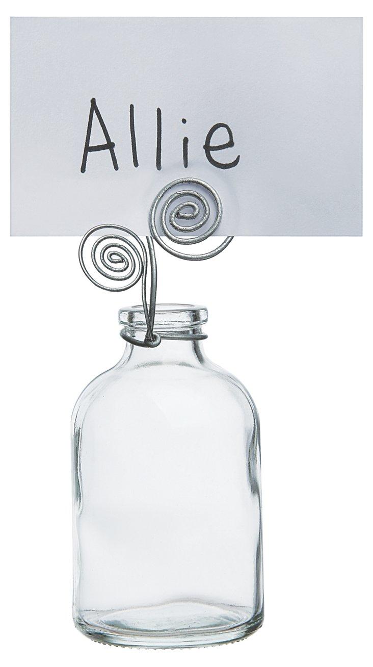 S/4 Glass Bottles w/ Card Holder
