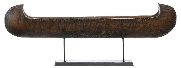 "44"" Carved Mango Wood Canoe, Brown"