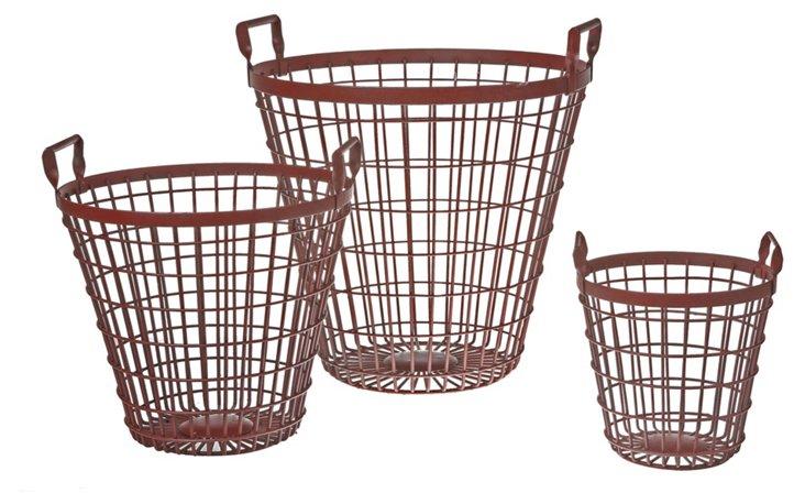 Red Iron Baskets, Asst. of 3