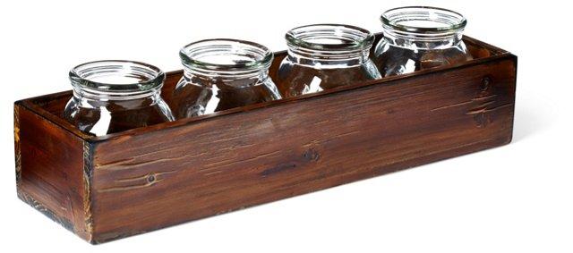 """16"""" Wood Box w/ 4 Glass Jars"""