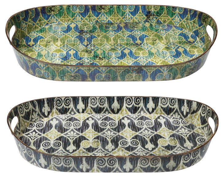 Asst. of 2 Ikat Trays, Multi