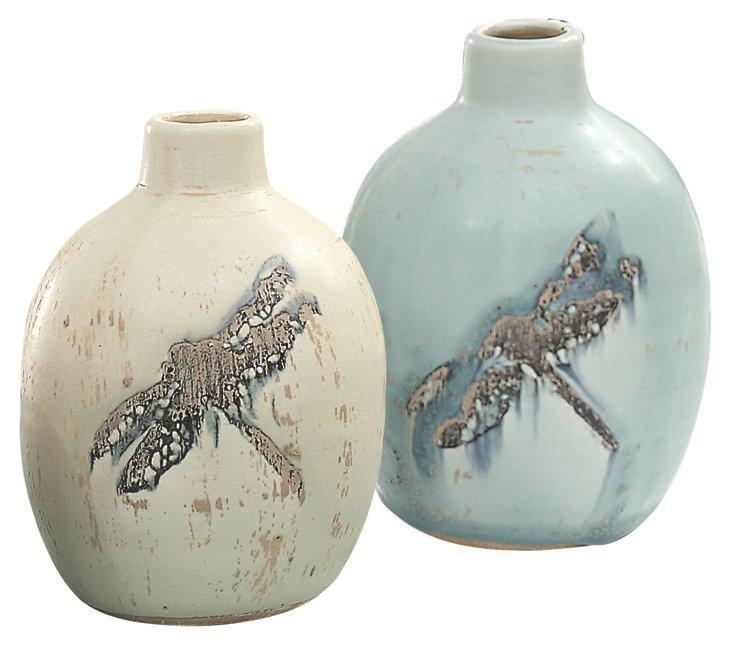 Terracotta Dragonfly Vases, Asst. of 2