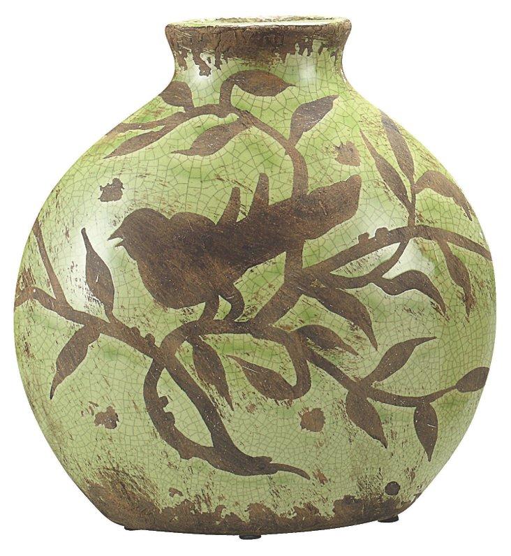 "10"" Songbird Vase, Green"