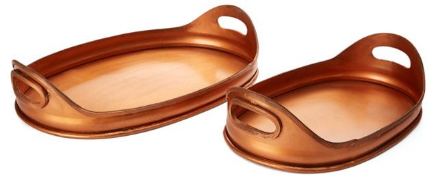Asst. of 2 Heirloom Trays, Copper