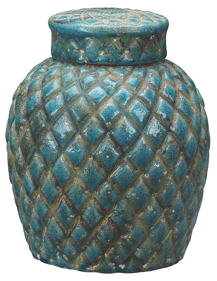 "10"" Tabitha Jar, Teal"