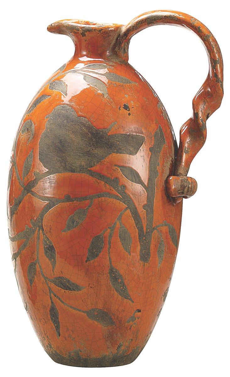 """16"""" Bird in Branches Jar, Orange"""