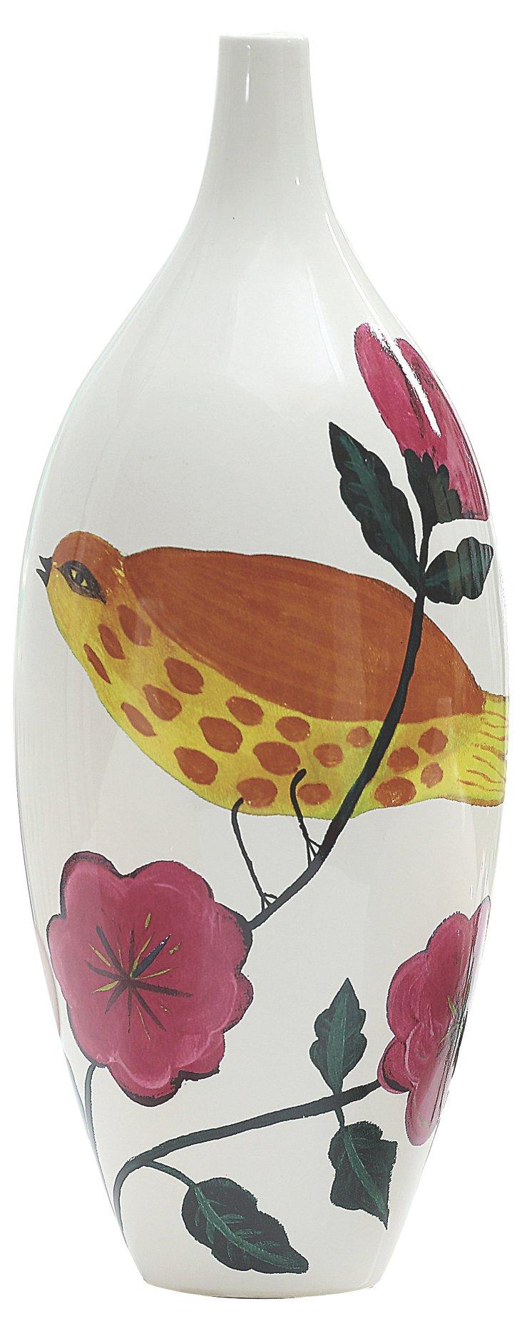 """15"""" Singing Bird Vase, Brown"""