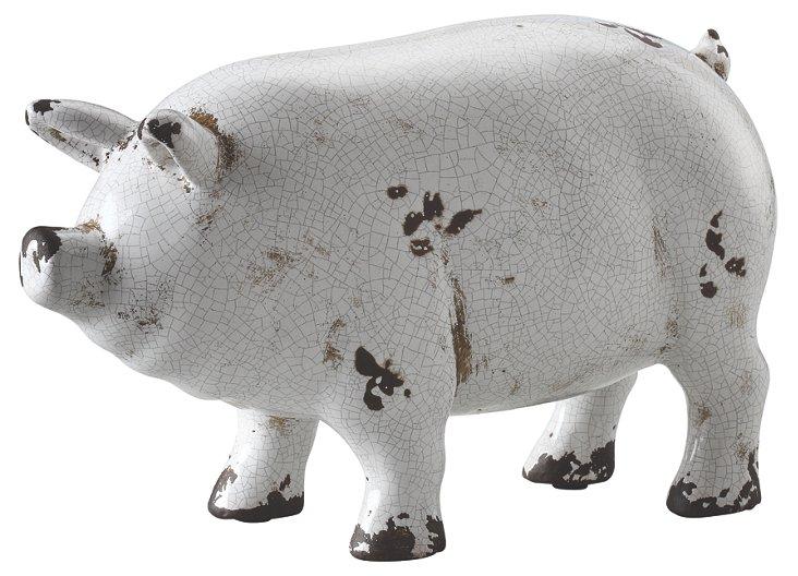"10"" Stoneware Pig, White"