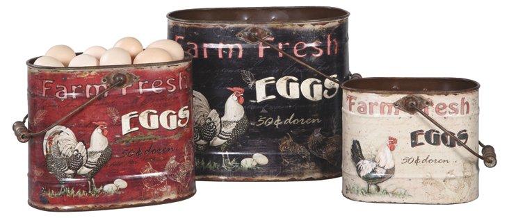 Tin Rooster Buckets, Asst. of 3