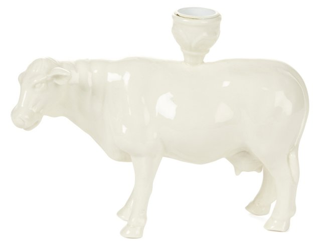 """S/2 8"""" Cow Taper Candleholders, White"""