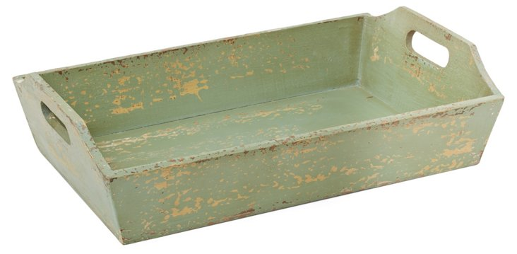 "20"" Distressed Tray, Green"