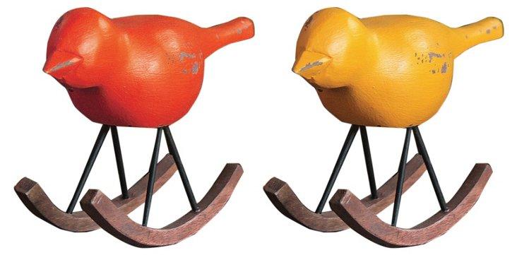 Asst. of 2 Carved Wood Rocking Birds