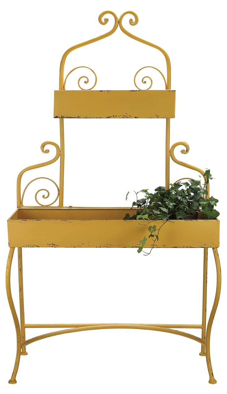 "53"" Tiered Plant Stand, Yellow"