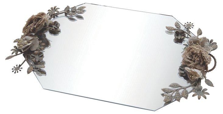 17x12 Beveled Glass Tray w/ Handles