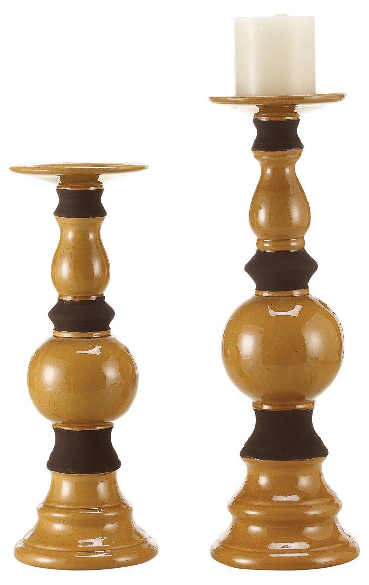 S/2 Banister Candleholders, Amber
