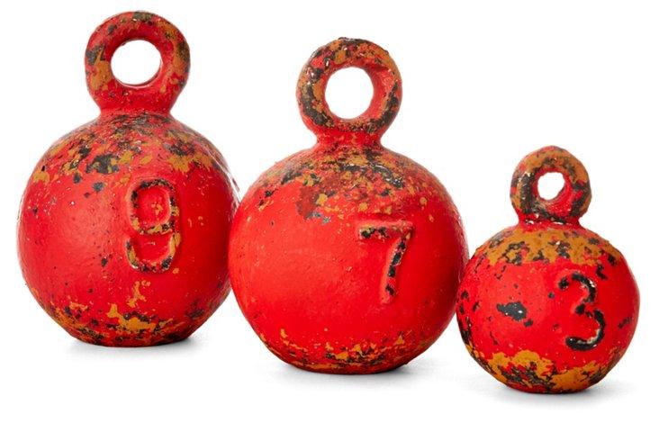"""4"""" Red Weights, Asst. of 3"""