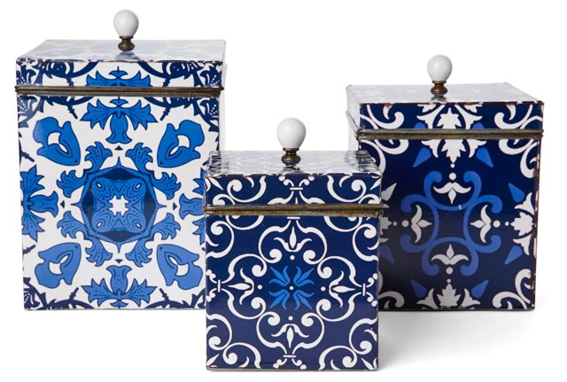 Asst. of 3, Patterned Tin Boxes, Blue