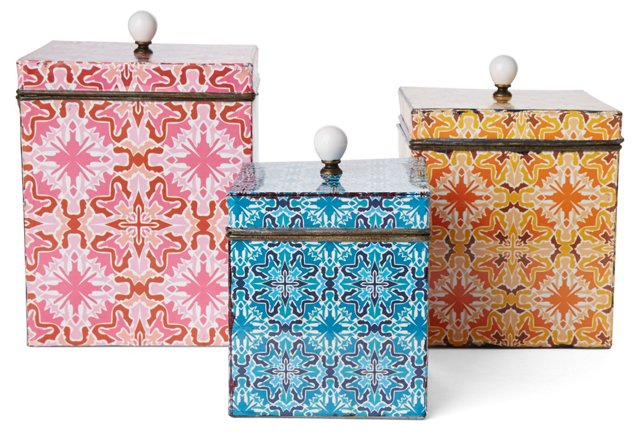 Asst. of 3, Patterned Tin Boxes, Multi