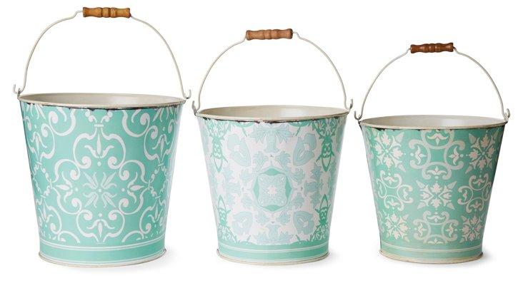 Asst. of 3 Patterned Aqua Tin Baskets