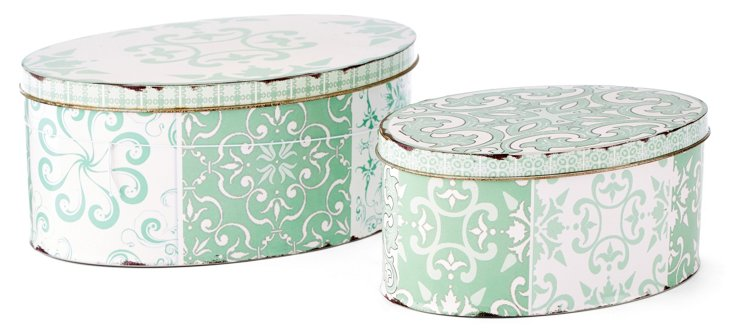 Asst. of 2 Patterned Tin Boxes, Green