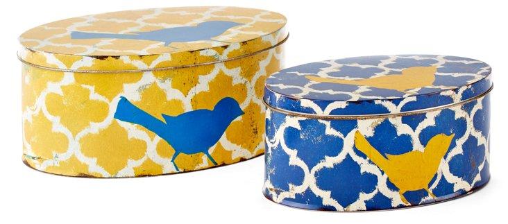 Asst. of 2 Tin Bird Boxes, Yellow/Blue