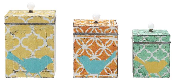 Asst. of 3 Tin Bird Boxes w/ Lids