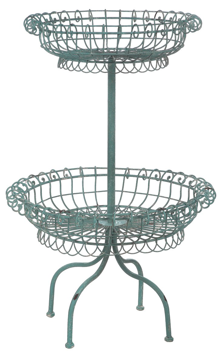 "26"" Tiered Standing Basket, Blue"