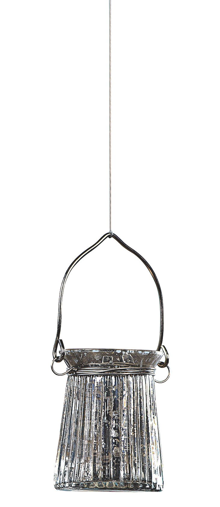 "4"" Hanging Glass Votive, Silver"