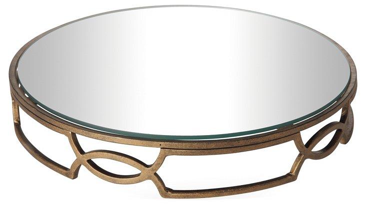 """17"""" Iron Mirror w/ Glass Base, Gold"""