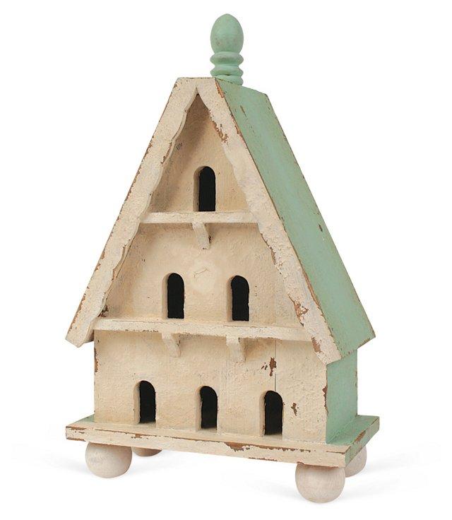 "13"" Yorkshire Birdhouse, White/Green"