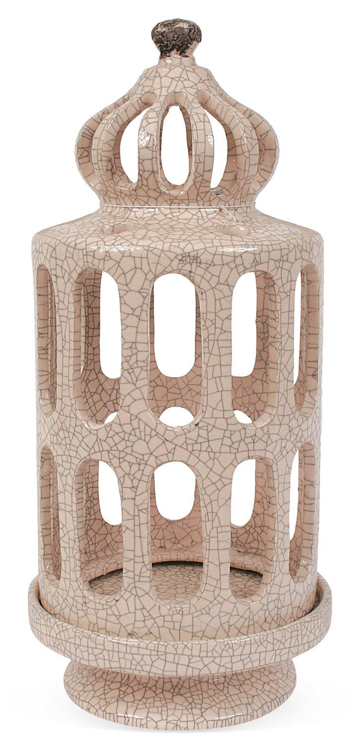 """14"""" Crackled Stoneware Candleholder"""