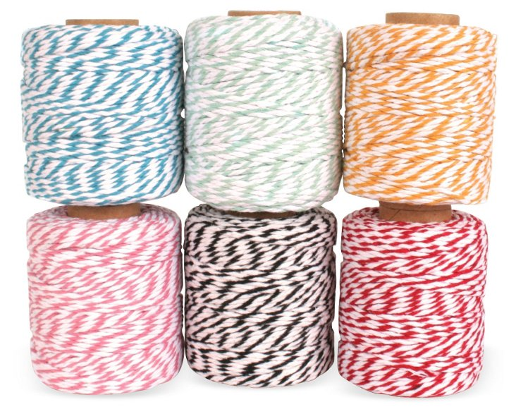 S/6 Assorted Cotton Cord Spools