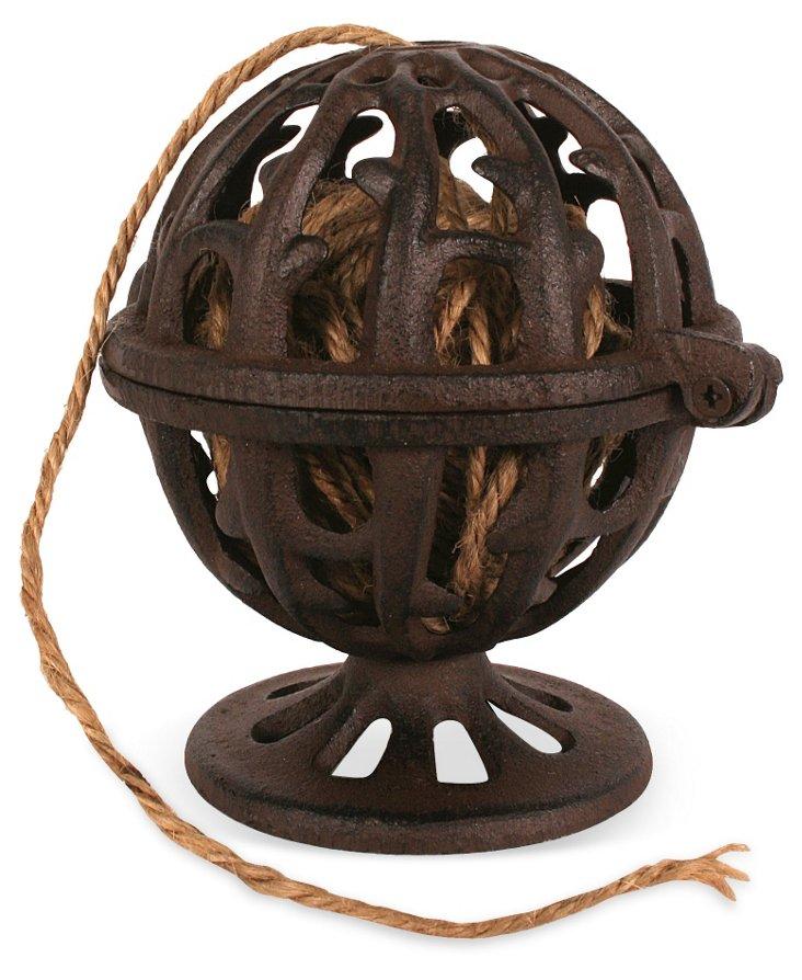 "6"" Iron Box w/ String, Brown"