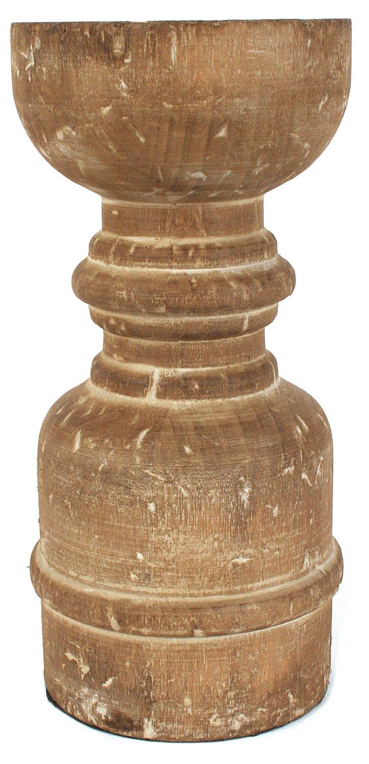 "8"" Poplar Wood Candleholder"