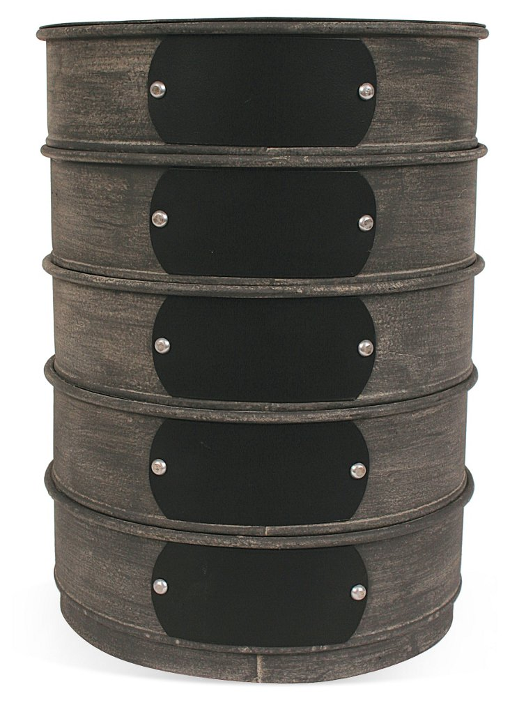S/2 Stacked Round Storage Boxes