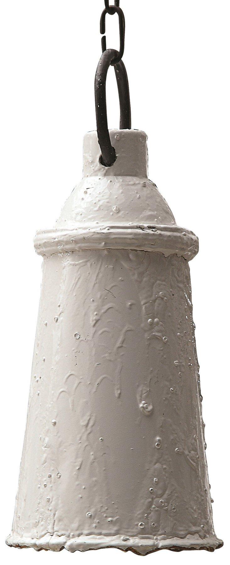 Jamie Iron Single Light Pendant, White
