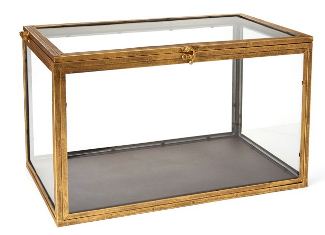 "20"" Metal & Glass Curio Box, Gold"