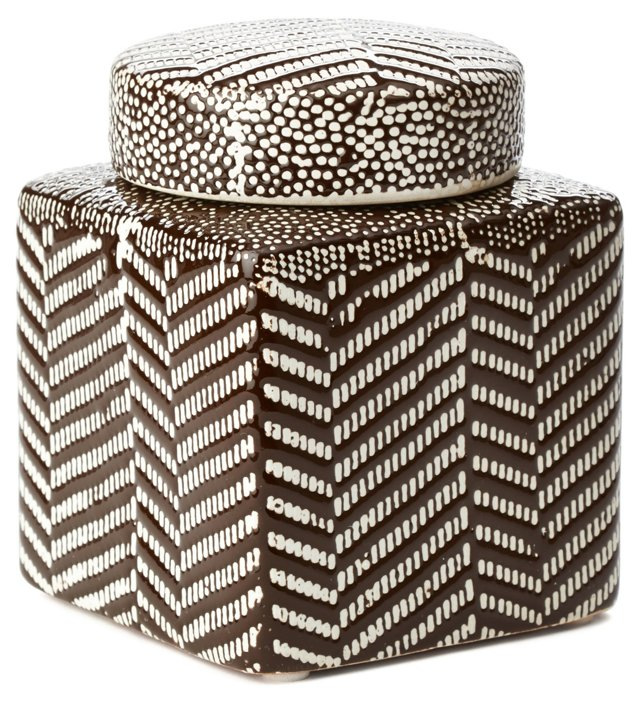 "5"" Stoneware Canister, Brown/White"