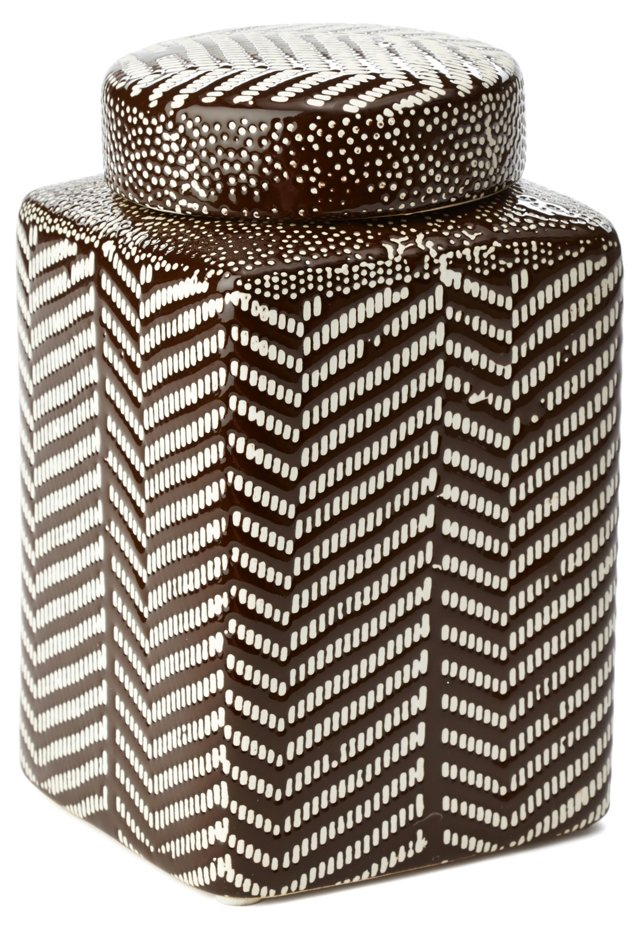 "7"" Stoneware Canister, Brown/White"