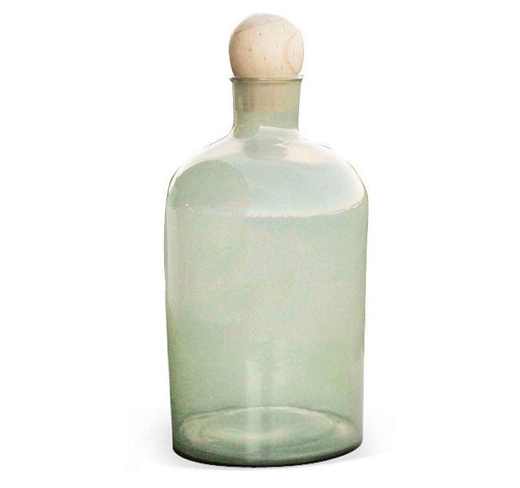 """23"""" Glass Bottle w/ Wood Stopper, Green"""