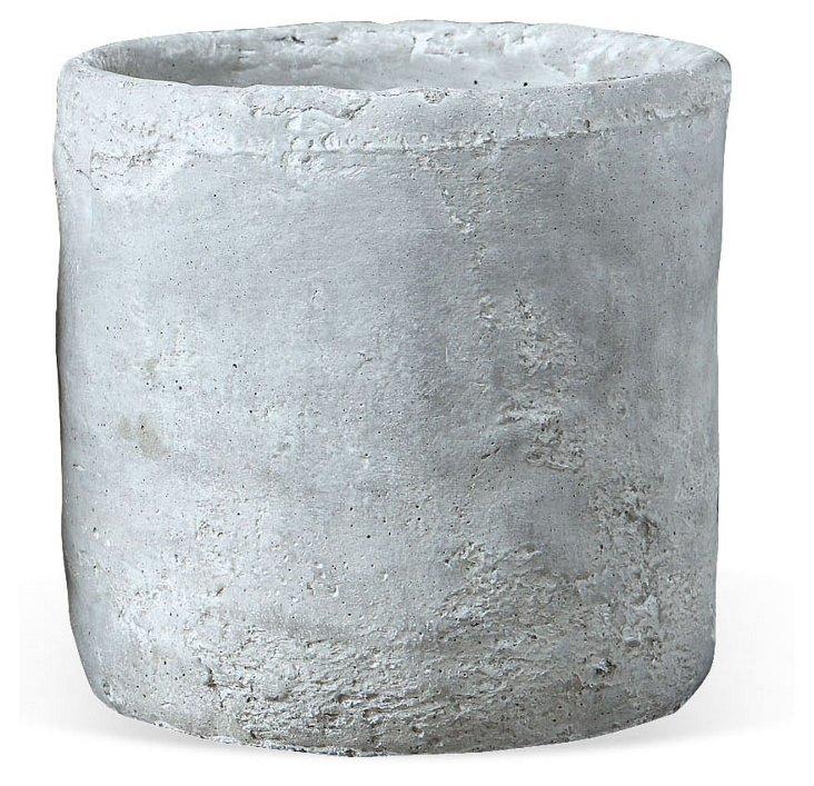 "S/4 4"" Cement Planters, White"