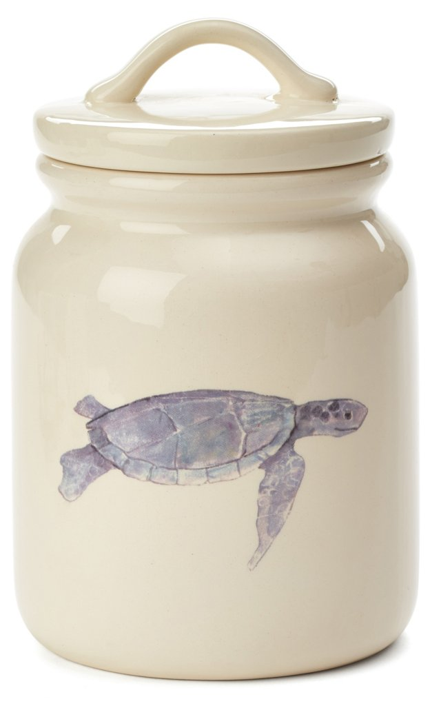 "7"" Sea Turtle Canister, Cream"