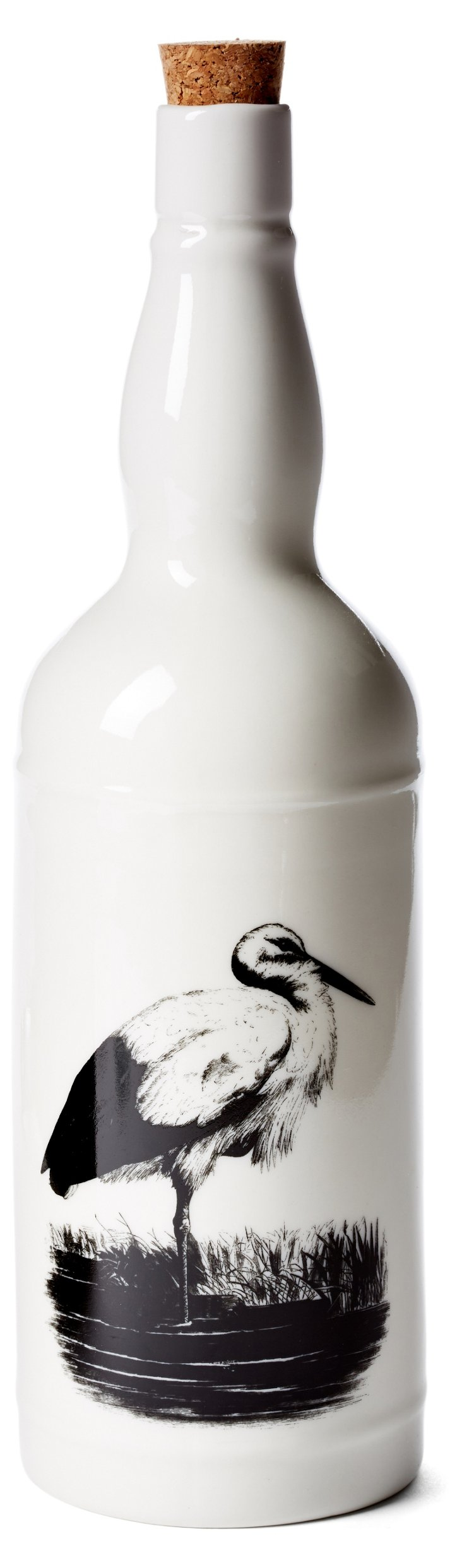 "11"" Stoneware Bottle w/ Stork, White"